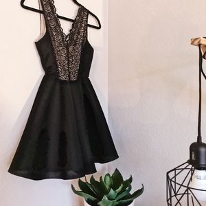 Dresses & Skirts - •Black and Nude lace mini dress•
